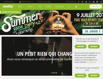 Main page screenshot of melty.fr