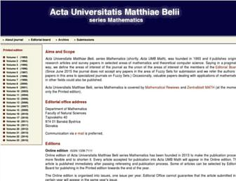 Main page screenshot of actamath.savbb.sk