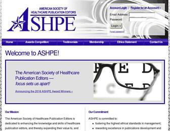 Main page screenshot of ashpe.org