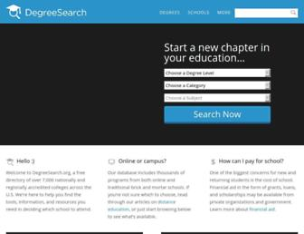 Main page screenshot of degreesearch.org