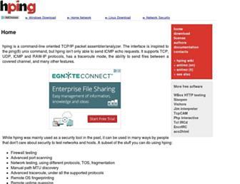 Main page screenshot of hping.org