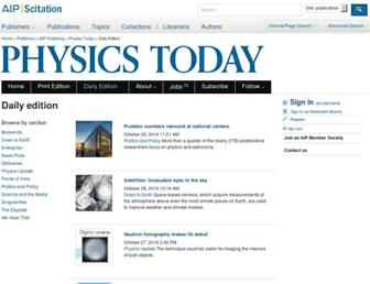 Main page screenshot of blogs.physicstoday.org