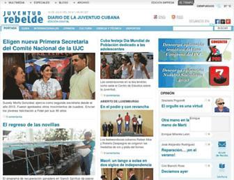 Main page screenshot of juventudrebelde.cu