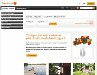 Main page screenshot of ib.swedbank.lt
