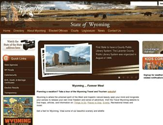 Main page screenshot of wy.gov
