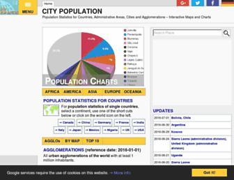 Main page screenshot of citypopulation.de