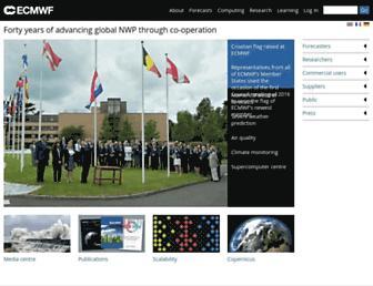 Main page screenshot of ecmwf.int