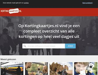 Main page screenshot of kortingkaartjes.nl
