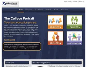 Main page screenshot of collegeportraits.org