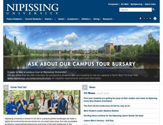 Main page screenshot of nipissingu.ca