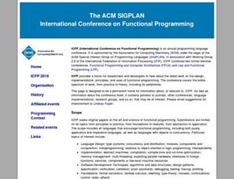 Main page screenshot of icfpconference.org