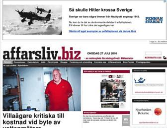 Main page screenshot of affarsliv.biz