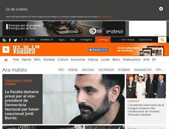 Main page screenshot of vilaweb.cat