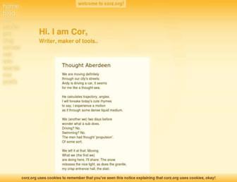 Main page screenshot of corz.org