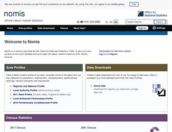 Main page screenshot of nomisweb.co.uk