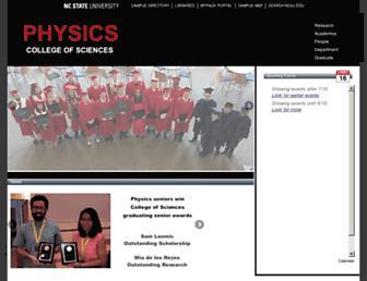 Main page screenshot of physics.ncsu.edu