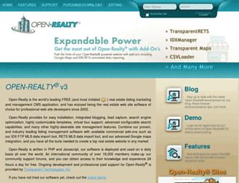 Main page screenshot of open-realty.org