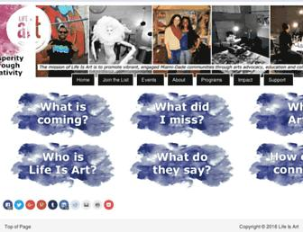 Main page screenshot of lifeisartfest.org