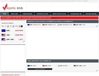 Main page screenshot of valutabnr.ro