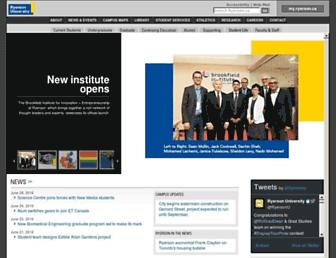 Main page screenshot of ryerson.ca