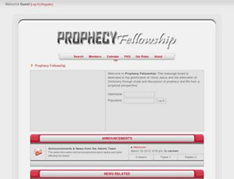 Main page screenshot of prophecyfellowship.org