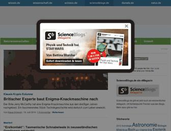 Main page screenshot of scienceblogs.de