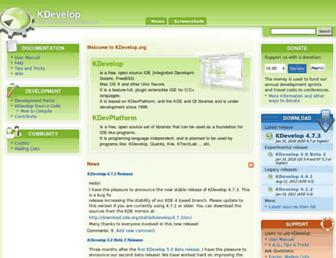 Main page screenshot of kdevelop.org