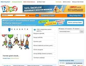Main page screenshot of blog.milliyet.com.tr
