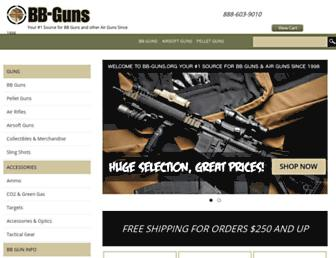 Main page screenshot of bb-guns.org