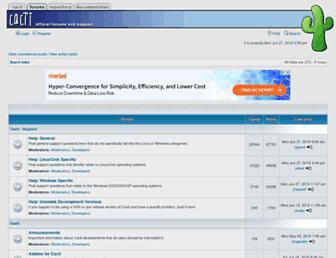 Main page screenshot of forums.cacti.net