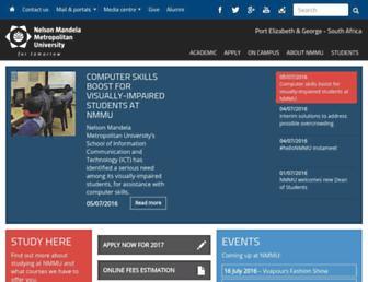 Main page screenshot of nmmu.ac.za
