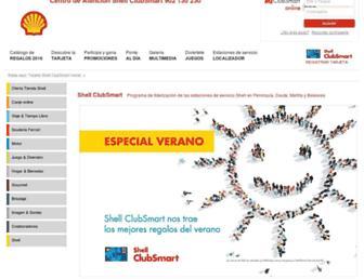 Main page screenshot of tarjetashellclubsmart.es