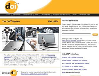 Main page screenshot of doi.org