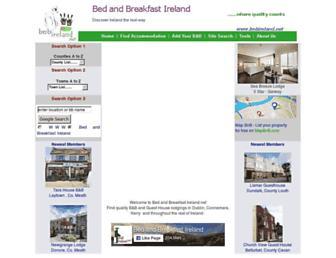 Main page screenshot of bedandbreakfastireland.net