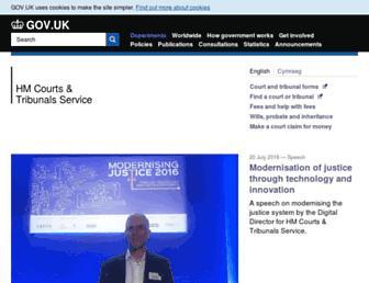 Main page screenshot of hmcourts-service.gov.uk
