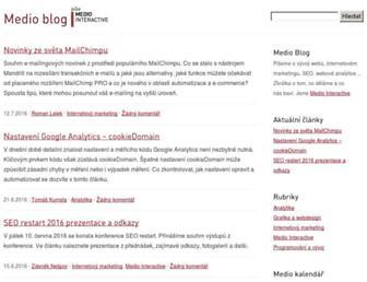 Main page screenshot of blog.medio.cz