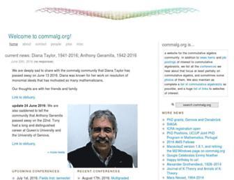 Main page screenshot of commalg.org