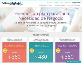 Main page screenshot of tunegocioenlaweb.pe