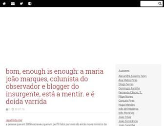Main page screenshot of jugular.blogs.sapo.pt