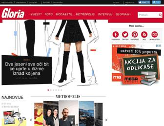Main page screenshot of gloria.com.hr