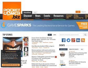 Main page screenshot of pocketgamer.biz
