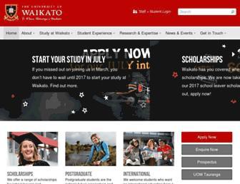 waikato.ac.nz screenshot