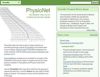 physionet.org screenshot
