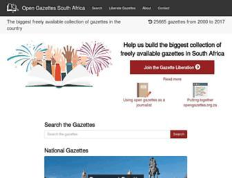 archive.opengazettes.org.za screenshot