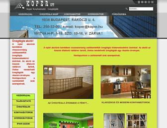 Main page screenshot of koper.hu