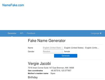 en.namefake.com screenshot