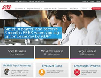 Main page screenshot of adp.ca