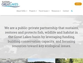 Main page screenshot of sustainourgreatlakes.org