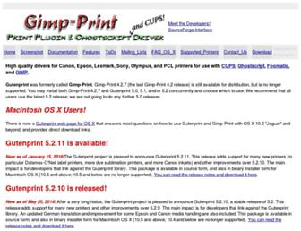 gimp-print.sourceforge.net screenshot