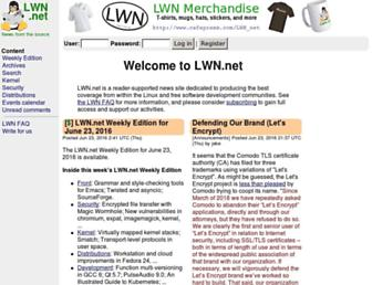 Main page screenshot of lwn.net